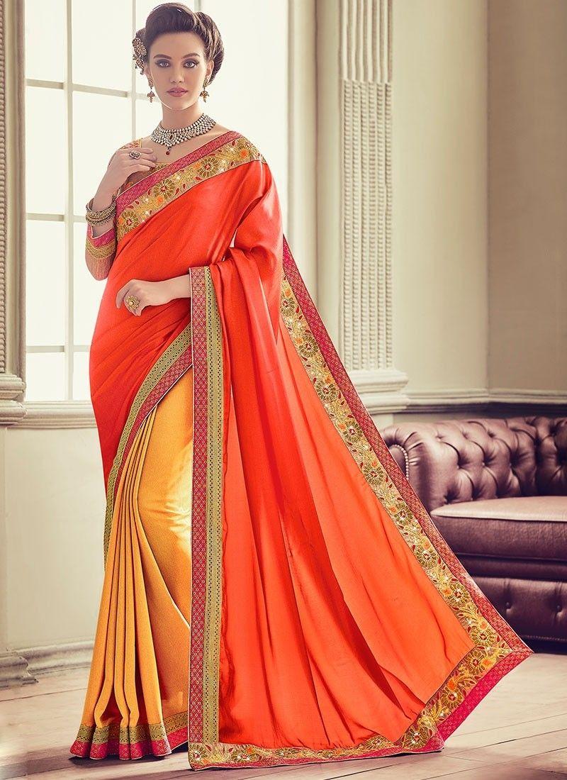 bdcc604b05608 Orange Yellow Silk  DesignerSaree With Embroidered