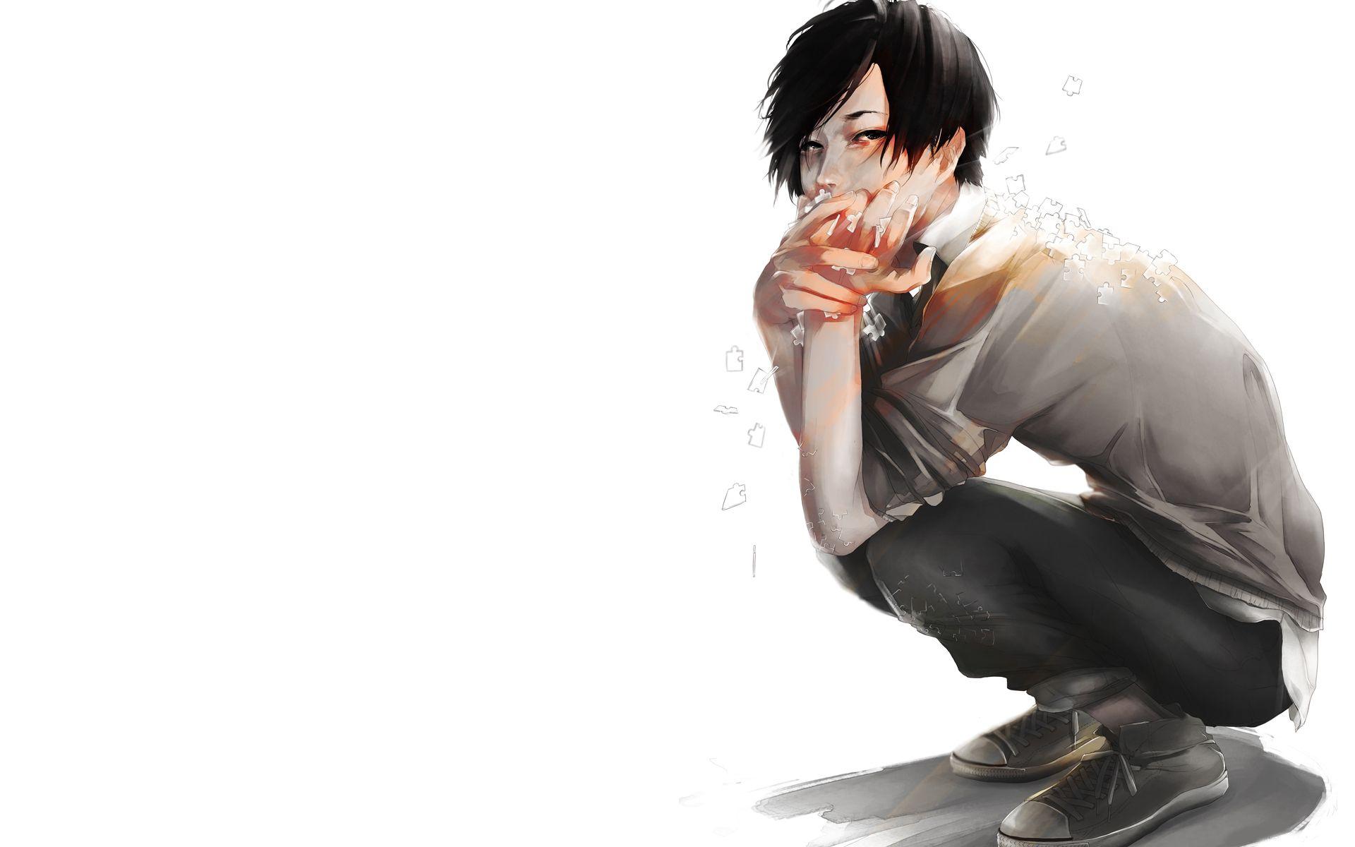 Anime cool boy sitting look art sadness jigsaw puzzle hd - Cool boy wallpaper hd download ...