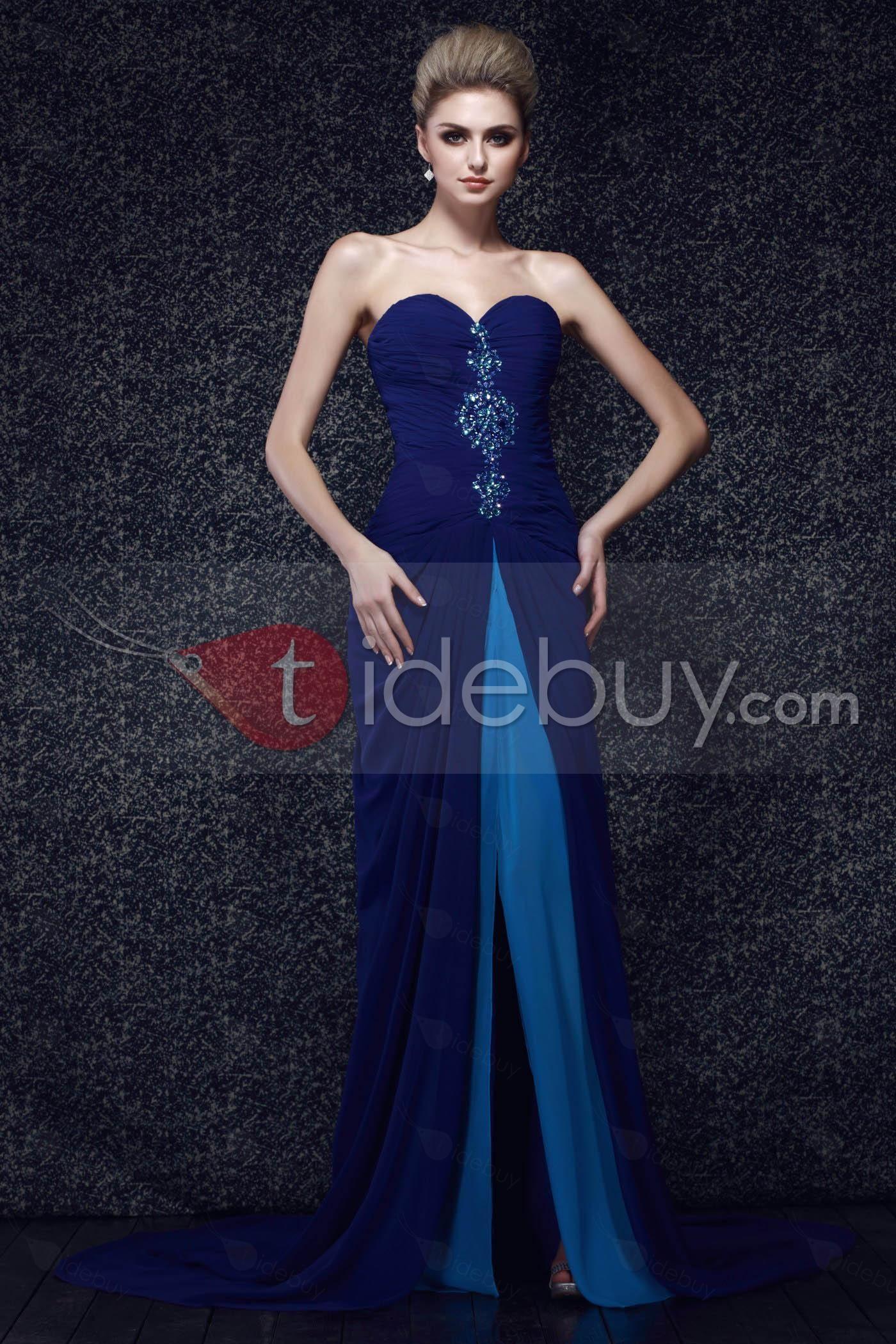 Sweetheart beaded floorlength spiltup dashaus evening dress