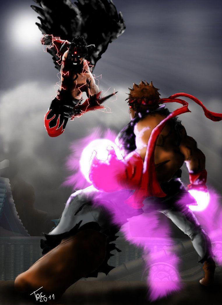 evil ryu vs devil jin fights pinterest devil street fighter