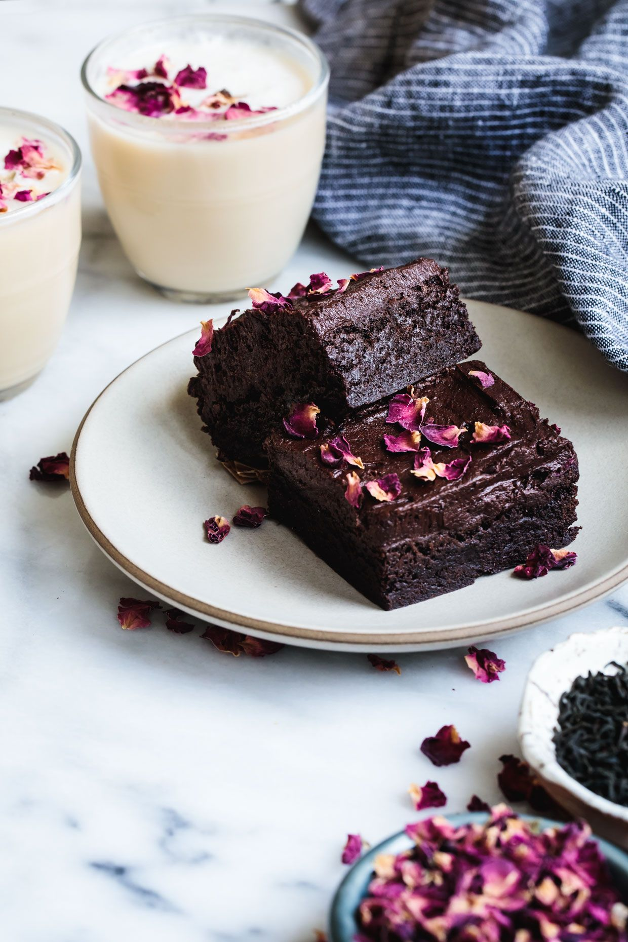 Gluten Free Frosted Earl Grey Brownies With Rose Petals Recipe