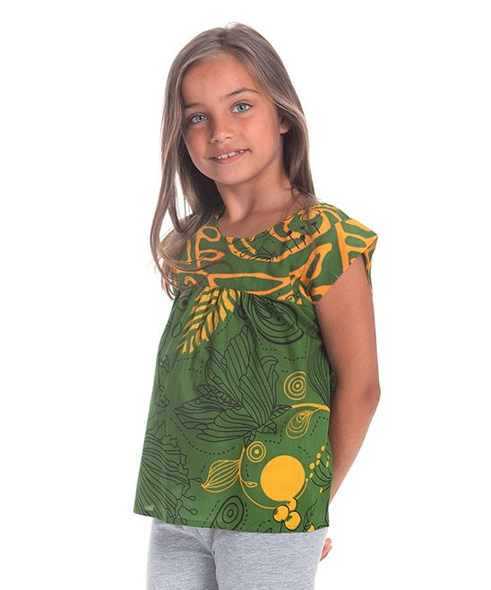 Green & Mustard Abstract Tunic - Toddler & Girls