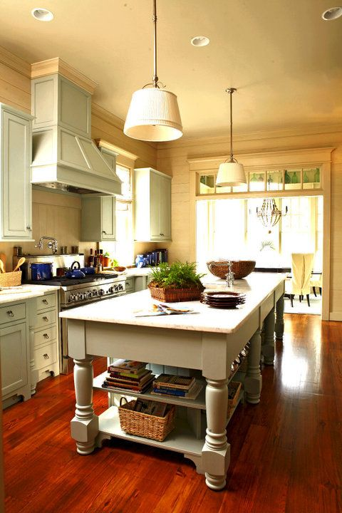 Beautiful kitchen from the Coastal Living Idea House, which was destroyed by a fire.  Image from Hooked on Houses.