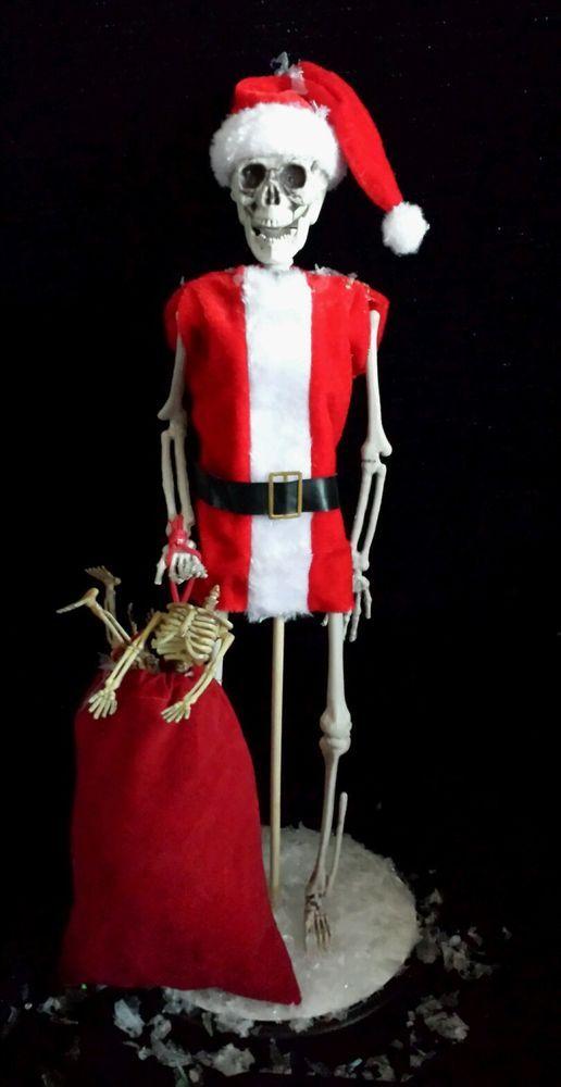 Christmas Skeleton.Zombie Skeleton Santa Claus Haunted Christmas Decoration