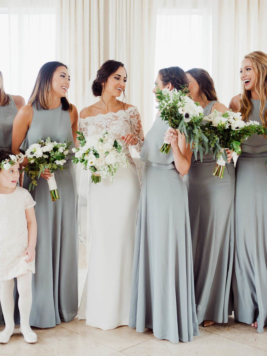A chic miami wedding all about old school glam modern miami a chic miami wedding all about old school glam dusty blue bridesmaid dresseswedding ombrellifo Image collections