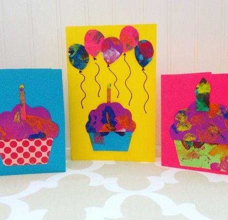 Making Cards With Toddlers Creating Greeting Cards From Toddler Art Birthday Card Craft Birthday Cards Diy Homemade Birthday Cards