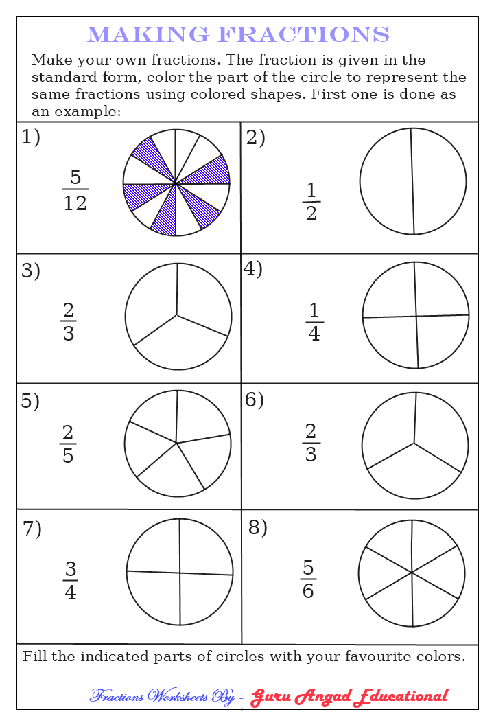 Worksheets For Kids Fractions Worksheets Shade The