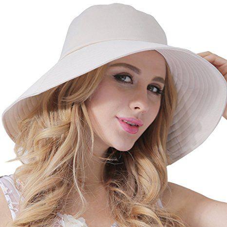 CACUSS Women s UPF 50+ Foldable Summer Bucket Sun Hats Wide Brim Beach  Shade Caps at Amazon Women s Clothing store  28c045da5dd