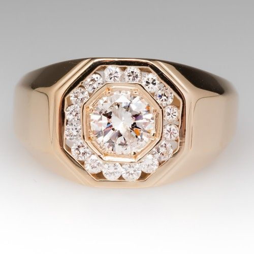 5603c58457d49 Vintage Mens 1 Carat Diamond Ring w/ Accents 14K | Just 4 Guys in ...