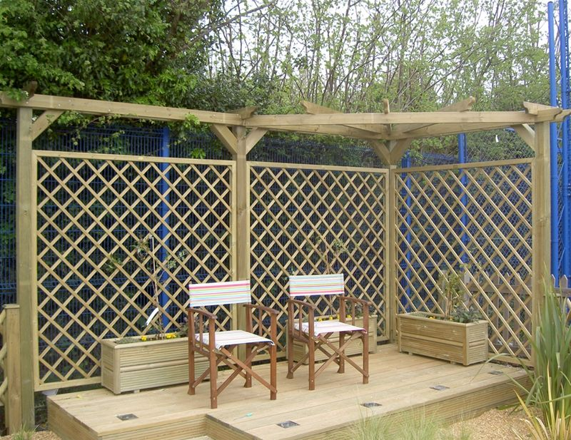 Corner Trellis Ideas Part - 18: The Corner Garden Pergola Is Constructed From Three Trellis Panels, Posts  And Pergola Parts. A Corner Pergola Is A Great Eye-catching Garden Feature  That ...