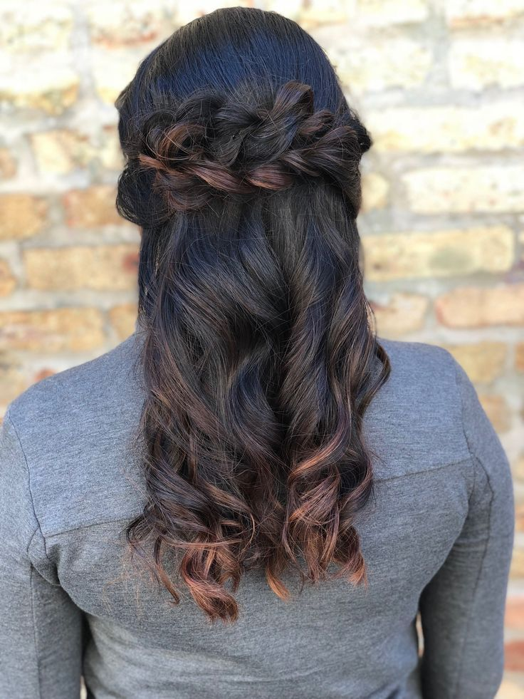 stacked braided crown with curls | half up half down hairstyle | hairstyle by goldplaited ...