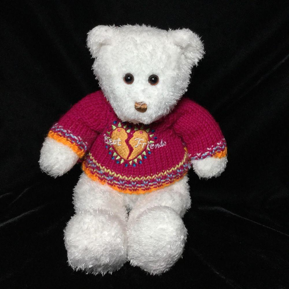 Just Friends White Teddy Bear Plush Best Soft Toy Sweater Knit 14 ...