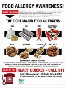 Food Allergy Awareness poster - the 8 major food allergens