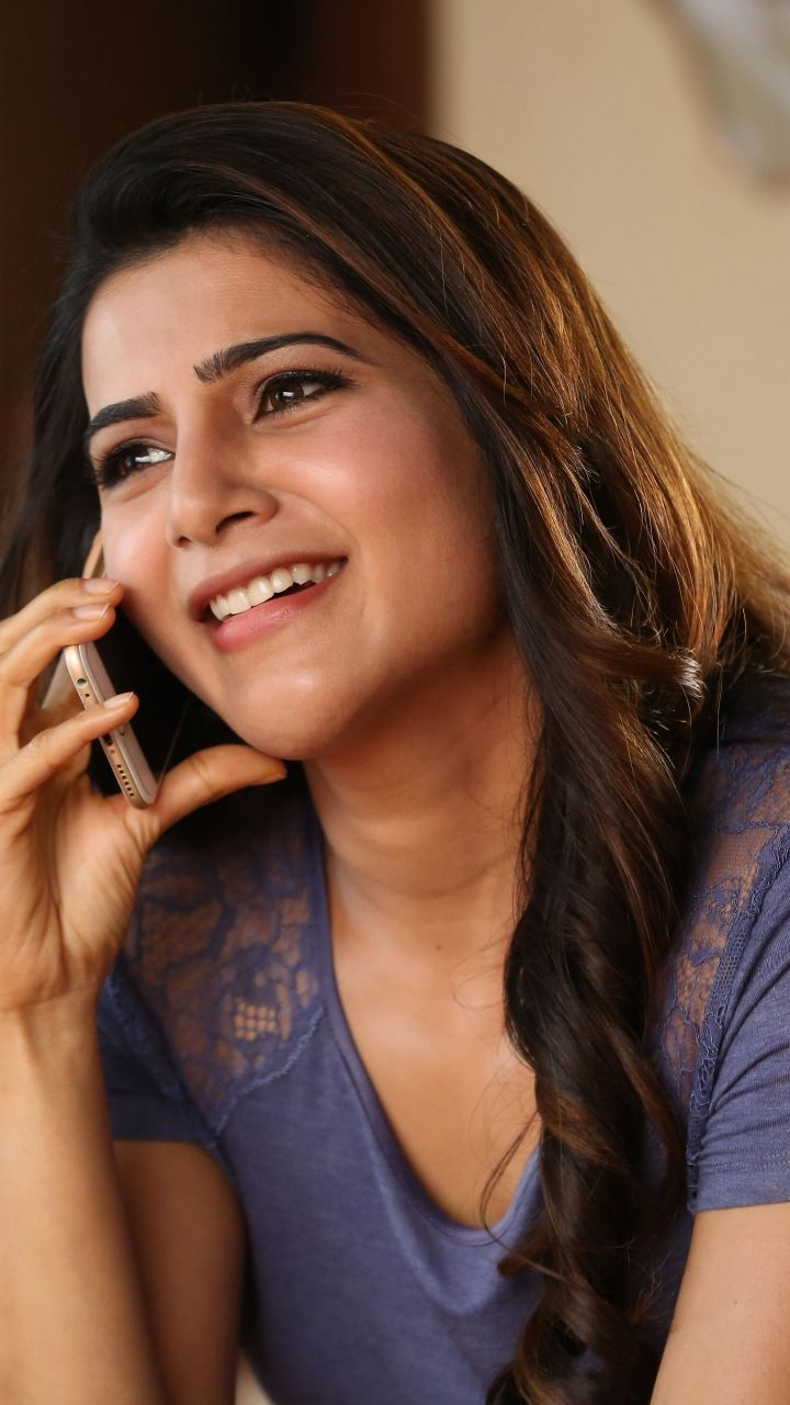 samantha prabhu, indian model, smile, talking on phone, 720x1280