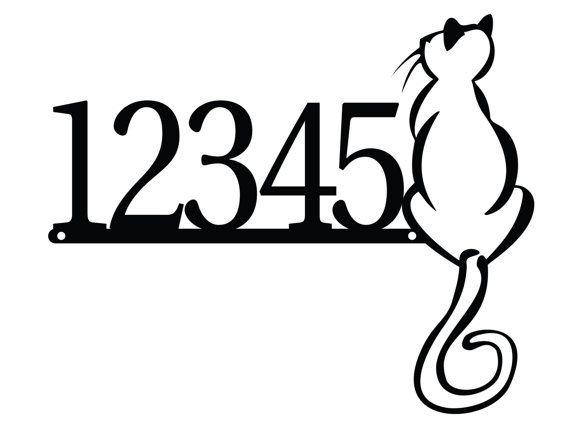 CUSTOM Cat Metal House Number