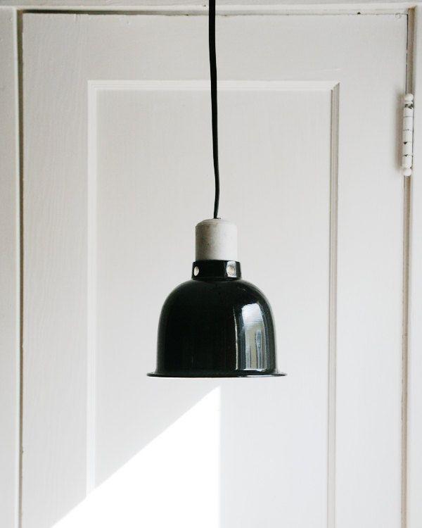 Industrial Chic Pendant Light  Vintage Black Enamel Aluminum Shade Hanging Light  Fixture  Plug In Light   Cord Switch   Silver