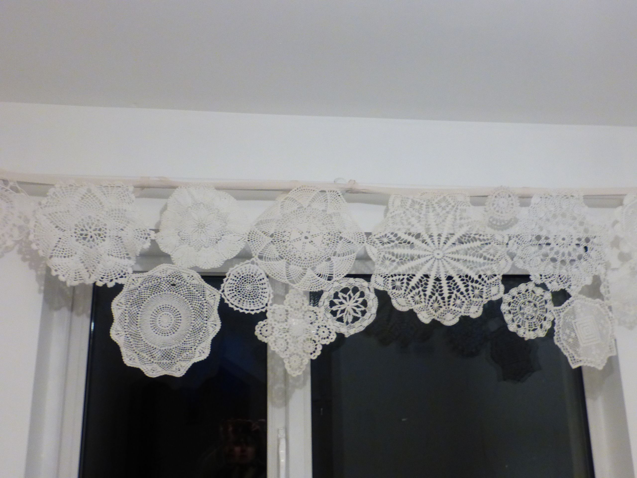 Upcycled Curtain Made Second Hand Lace Doilies Diy