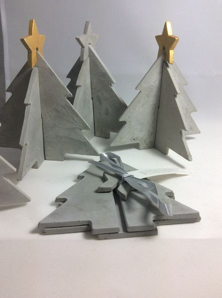 Weihnachtsbaum aus Feinbeton mit Stern zum Stecken | Feinbeton ...