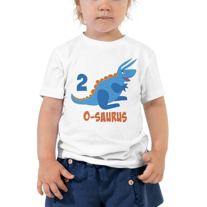 Second Birthday Shirt for 2 Year Old Shirt Boy and Girls 2nd Birthday Shirt with Blue Dinosaur Birthday Shirt Gift for Kids #creativeartsfor2-3yearolds