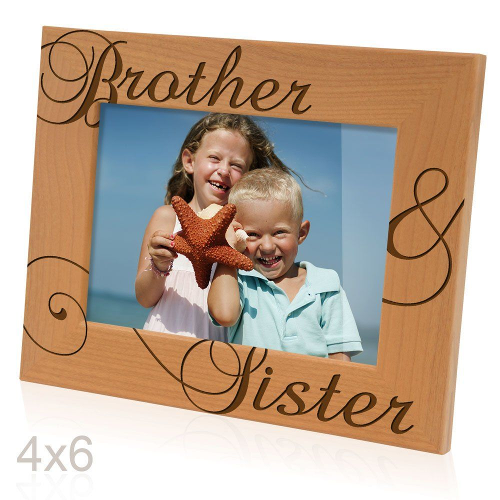 Kate Posh - Brother & Sister Engraved Natural Wood Picture Frame ...