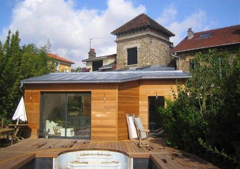 Toiture zinc faible pente pascale mira architecte dplg for Extension maison zinc