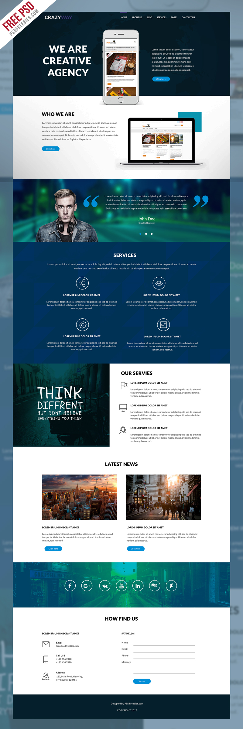 Creative Agency Website Template Free PSD | Template, Website and ...