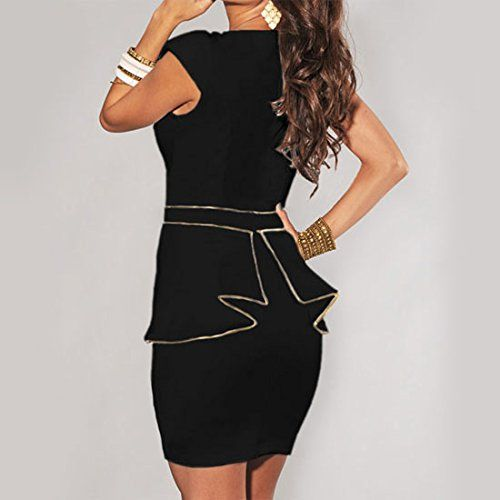 8ab0141082f7 Crossdresser Cap Sleeves Gold Peplum Bodycon Cocktail Dress Black/Ivory (Plus  Sizes)