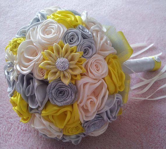 Hochzeitsstrauss Blumenstrauss Satin Gelb Beige Silber Deko Diy