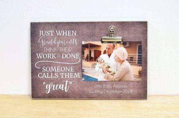 Grandparents Photo Frame, Gift For Great Grandparents, ChristmasGift, Baby Reveal to Grandparents, G #grandparentphoto