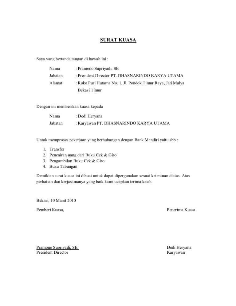 Surat Kuasa Cetak Buku Tabungan : surat, kuasa, cetak, tabungan, Contoh, Surat, Kuasa, Cetak, Mandiri, Cute766