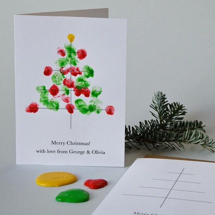 Moderne Weihnachtskarten Basteln.Moderne Weihnachtskarten Weihnachtsbaum Fingerabdruck
