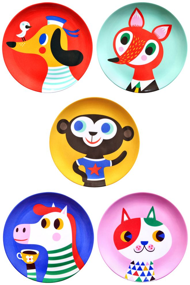 Children\u0027s melamine plates featuring colourful animals designed by Helen Dardik published by Bobby Rabbit  sc 1 st  Pinterest & Children\u0027s melamine plates featuring colourful animals designed by ...