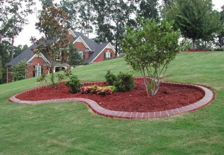 Pin By Ka Revill On Backyard Living Garden Landscaping Around Trees Landscaping With Rocks Brick Landscape Edging