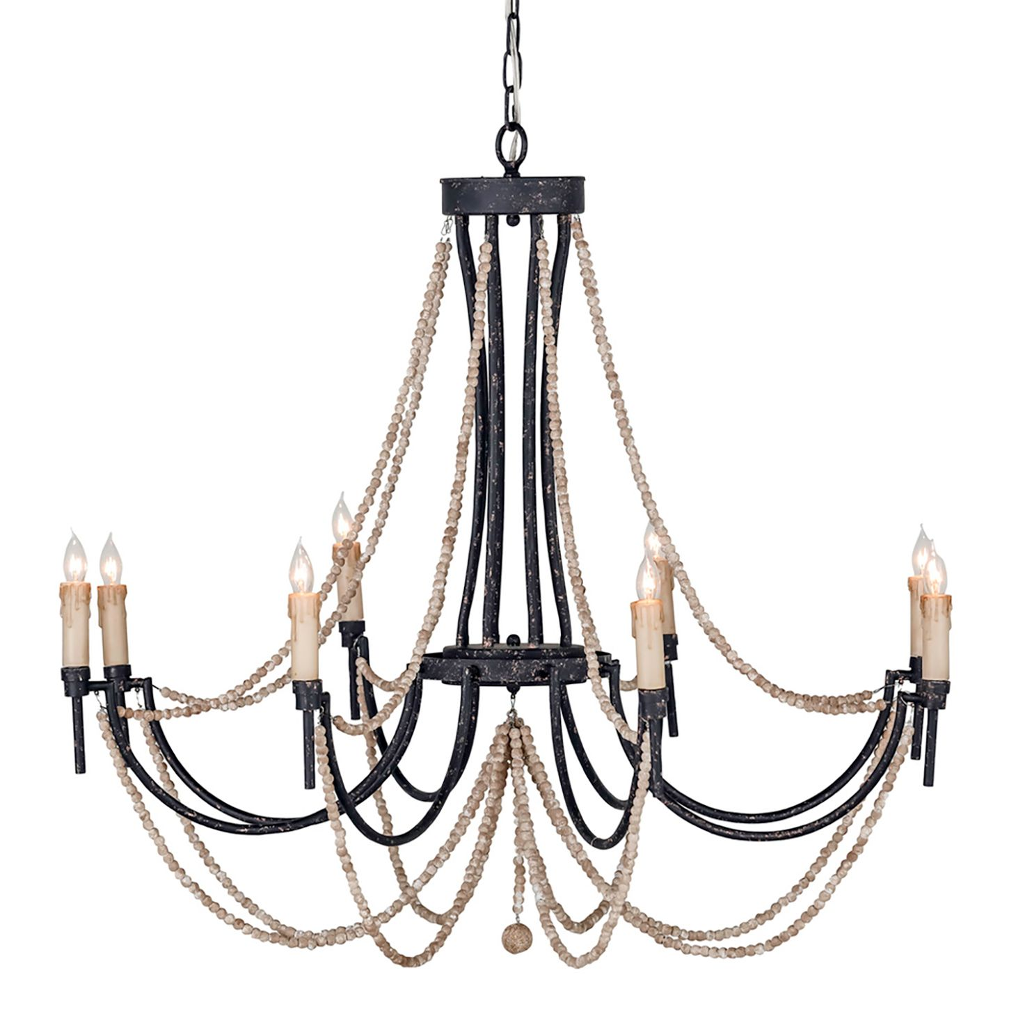 The gabby lighting percy chandelier provides coastal glamour to crafted from distressed black metal this focal point lighting features antiqued draped ivory wooden beads arubaitofo Images