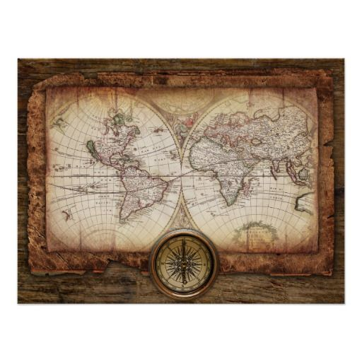 Old world map with compass poster compass map globe and globe old world map with compass poster gumiabroncs Gallery