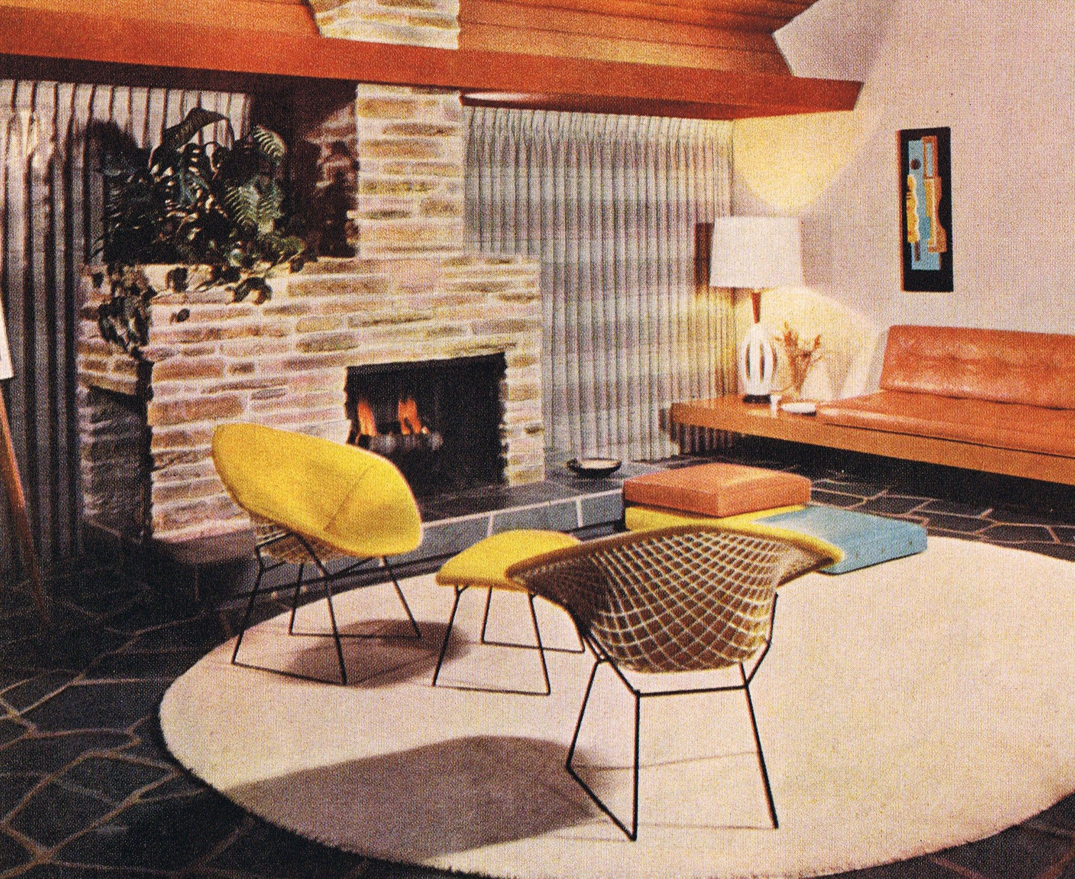 Mid Mod Living Room With Knoll Bertoia Chairs   1963