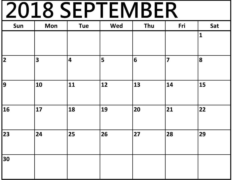 One Page September Calendar