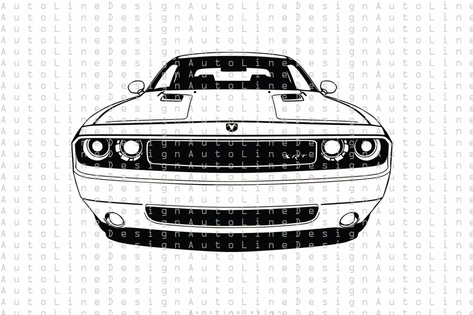Dodge Challenger Front View Svg Pdf Dxf Png Eps Illustration Etsy In 2021 Dodge Challenger Challenger Car Drawings