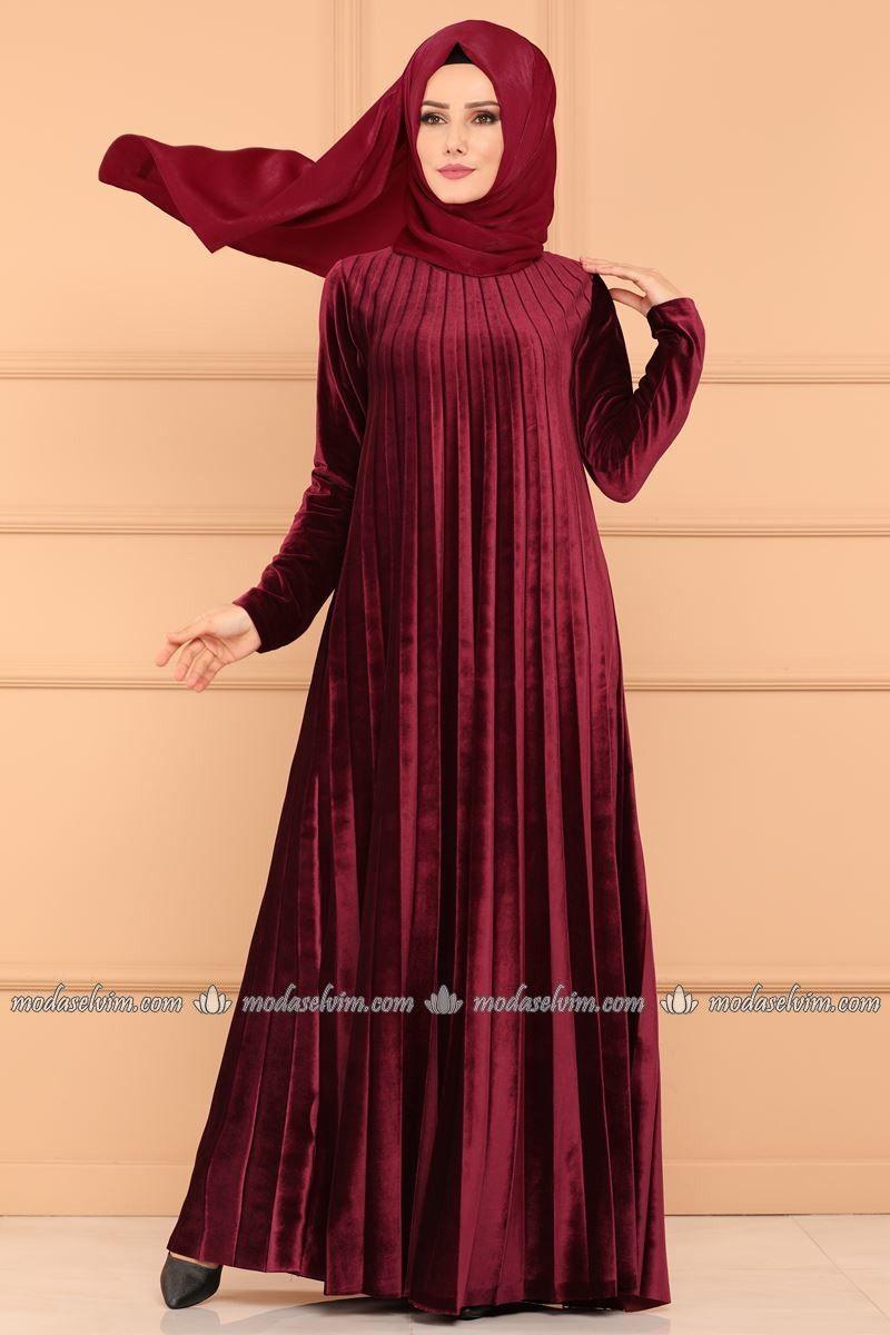 3cc8b5ff3ccff moda selvim Piliseli Kadife Elbise 1923AF356 Bordo | Elbiseler ...