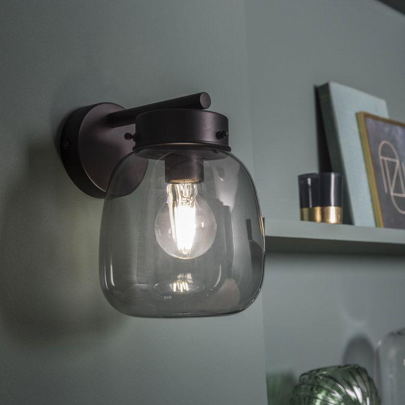 Applique Fer Transparent Noir Inspire Brume 1 Lumiere S Leroy Merlin Lumiere Eclairage Mural Brume