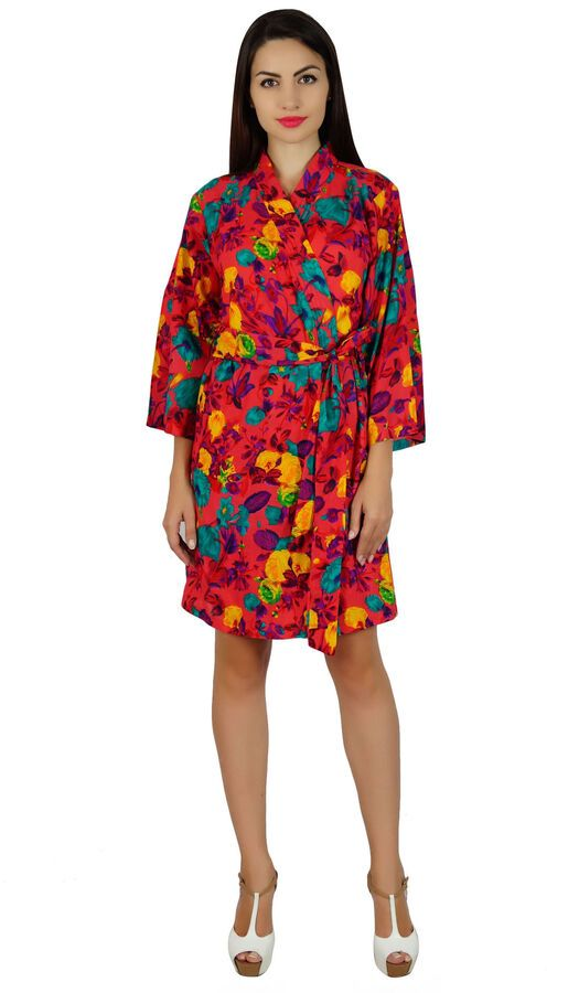 22f68cfb44 Bimba Women Red Short Floral Cotton Robe Bride Bridesmaid Getting Ready  Coverup Short Floral