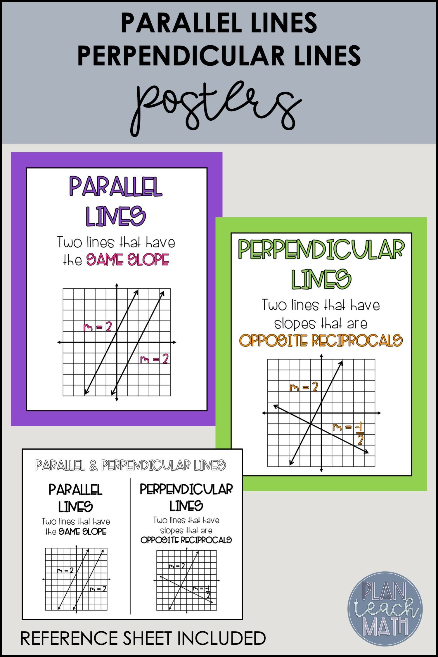 Parallel Amp Perpendicular Lines Posters Amp Reference Sheet
