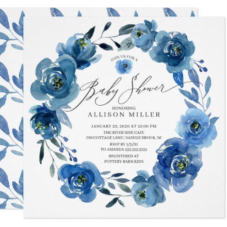 Watercolor Blue Flowers Baby Shower Invitation #UniqueGifts #BirthdayGiftsUnique #PersonalizeGifts #ShopCustomizables