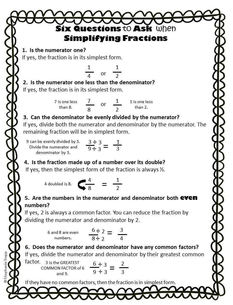 Simplifying Fractions Worksheet and Template Math