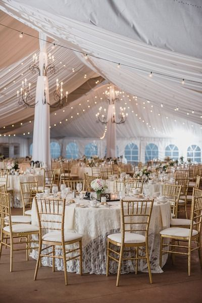 Elegant wedding reception decor round banquet tables with lace elegant wedding reception decor round banquet tables with lace table linens hanging chandeliers junglespirit Choice Image
