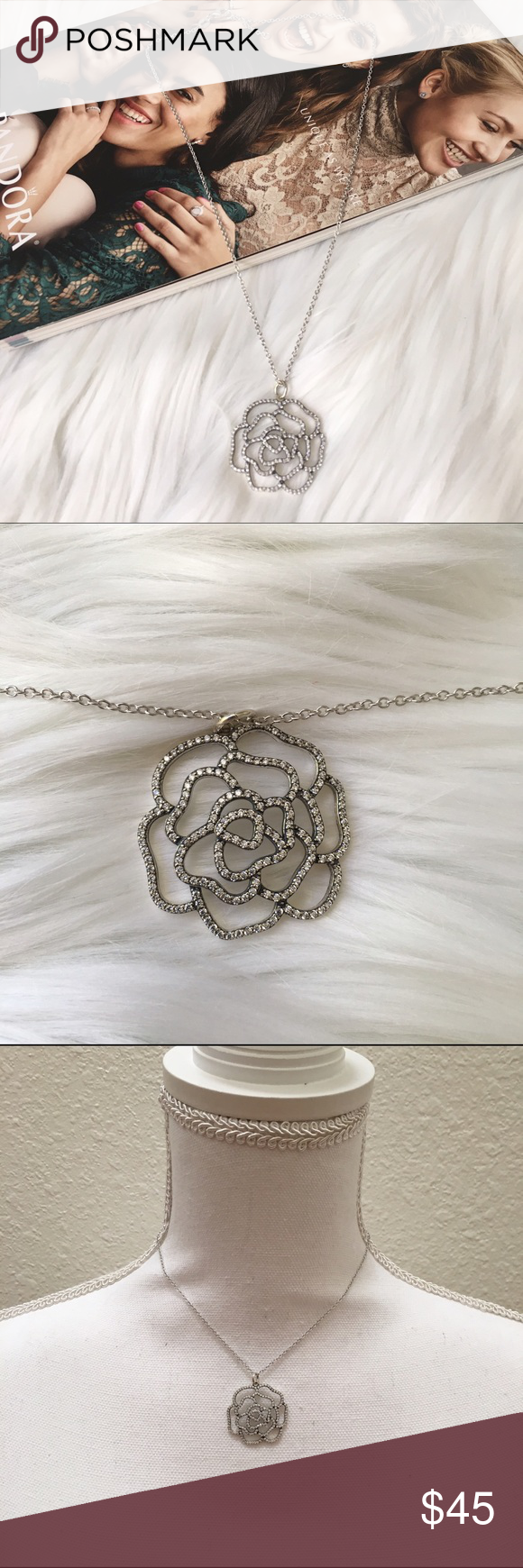 """Shimmering Rose Necklace. Genuine Sterling Silver Pand0r Style Shimmering Rose Necklace. Pendant and Chain are both stamped S925. Beautiful. Flower pendant is about 1""""x1"""". Chain is 14"""" with 3"""" extender.            .                        ✨n o t P A N D O R A✨ Jewelry Necklaces"""