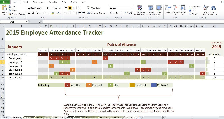 employee attendance tracking calendar template http exceltmp com