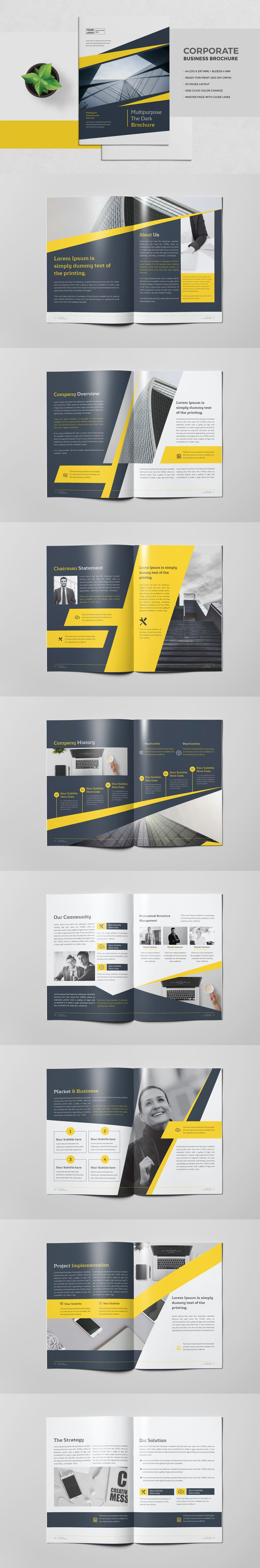 Professional, Clean and Modern Brochure Template InDesign INDD - 20 ...