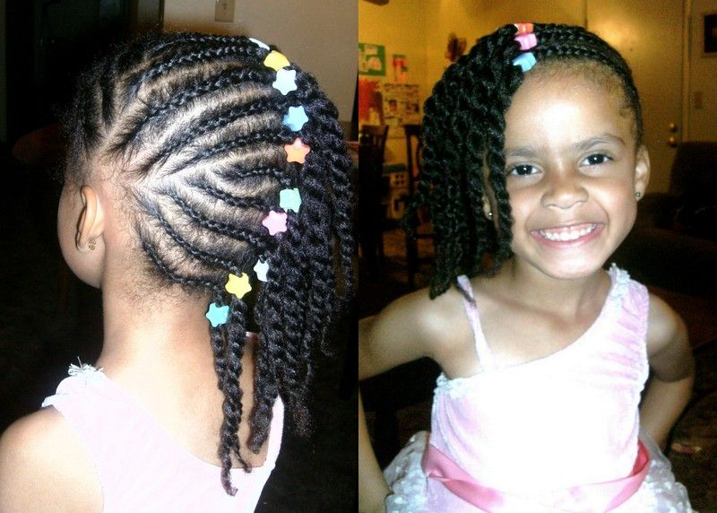 side braids, bead at root, 2 strand twist