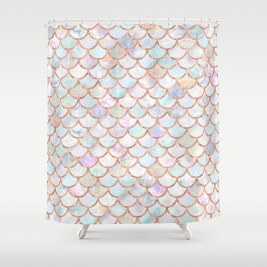 Girly Pastel Mermaid Scales Shower Curtain With Rose Gold